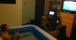 gaming dorm room hot tub